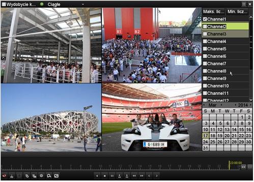 Synchroniczne odtwarzanie do 16 kanałów wideo