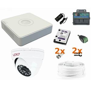 f58d0915b94952 Podstawowy analogowy zestaw do monitoringu wewnętrznego i zewnętrznego  małego biura/sklepu.
